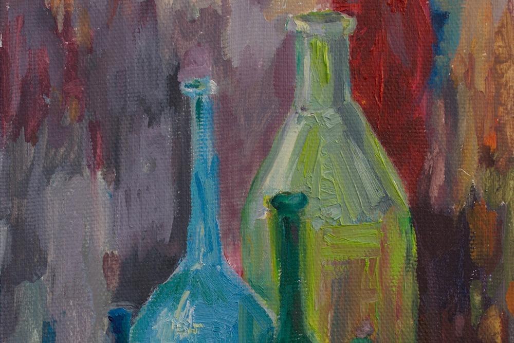 Живопись маслом. Натюрморт с бутылями.